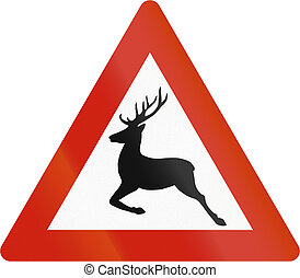 Norwegian road warning sign - Reindeer crossing