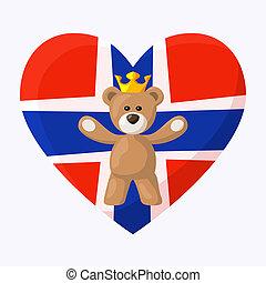 Norwegian Royal Teddy Bear - Teddy Bear with crown and heart...
