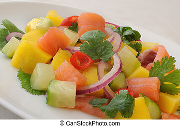 Norwegian salmon ceviche with mango and coriander - dish of...