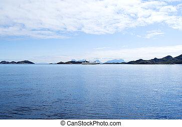 Norwegian sea - Seascape of Norwegian sea with cloudy sky