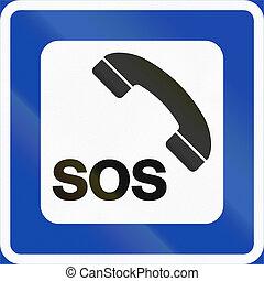 Norwegian service road sign - Emergency telephone
