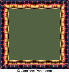 Norwegian traditional ornament. Square frame with geometric ornament. Knitting Pattern. Vector.