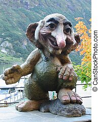 A statue of a troll in Geiranger, Norway