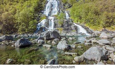 Norwegian Tvindefossen waterfall - Cinemagraph loop ...