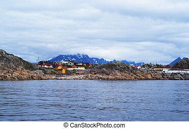 Norwegian village on Lofoten Islands - A village on Lofoten...