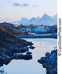 Norwegian village on the Lofoten islands in the evening