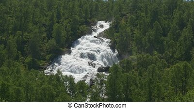 Norwegian Waterfall - Untouched and stabilized material, ...