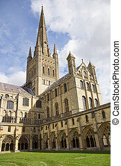 Cloister of Norwich Cathedral Church of the Holy and Undivided Trinity, Norfolk, England.