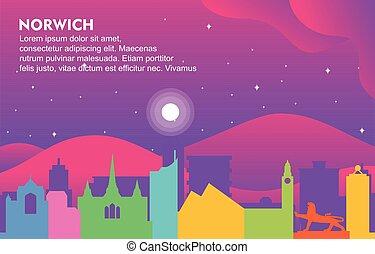 Norwich City Building Cityscape Skyline Dynamic Background Illustration