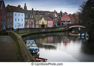 Norwich riverside scene along the banks of the river Wensum