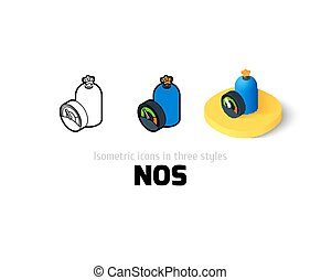 NOS icon in different style - NOS icon, vector symbol in...