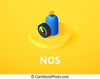 NOS isometric icon, isolated on color background - NOS icon,...