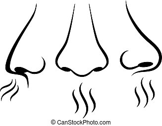 Nose breathing vector pictograms set