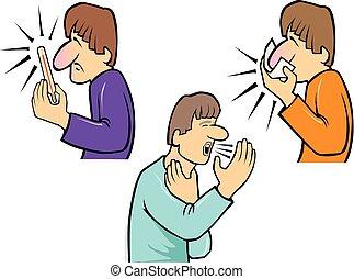 nose-fever-coughing, soffiando, illustrazione, uomo