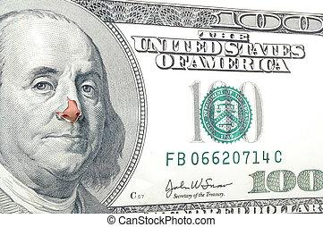 Nose for money - Nose through monny bill