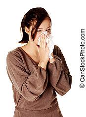 nose., girl, souffler, jeune, elle
