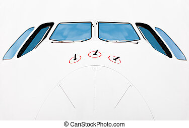 Nose of passenger plane.