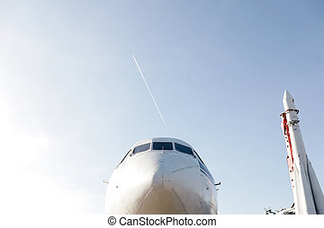 nose of the aircraft with a rocket