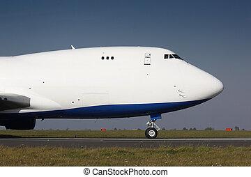 Nose of white cargo plane