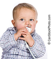Nose plug - Curious baby playing a dangerous game with an...