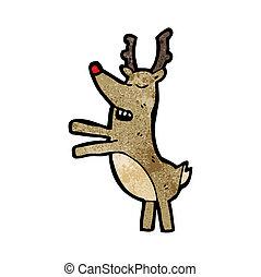 nosed, rudolf, renne, rouges, dessin animé