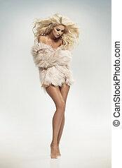 nosení, dáma, kožešina, smyslný, blond