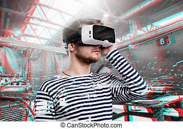 nosení, moný realita, factory., goggles., svařování, voják