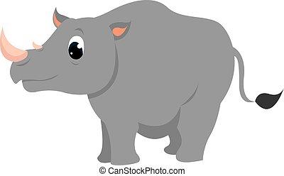 noshörningen, söt, vit, bakgrund., vektor, illustration