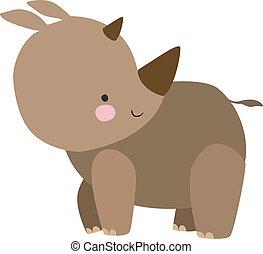 noshörningen, vektor, bakgrund., illustration, vit, söt