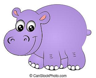 nosorożec, hipopotam, jeden, izolowany