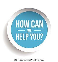 nosotros, ayuda, etiqueta, you?, cómo, vector, lata
