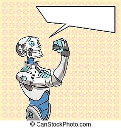 nosotros, charla, lata, burbuja, arte, él, robot, tecnología...