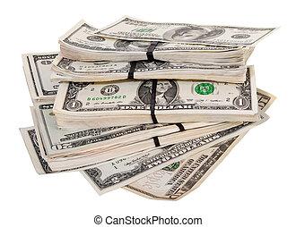 nosotros dólares, billetes banco., aislado, blanco