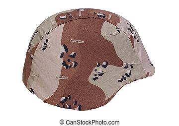 nosotros ejército, casco, con, un, desierto, camuflaje, cubierta