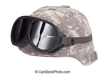 nosotros ejército, kevlar, casco, con, camuflaje, cubierta, y, anteojos protectores