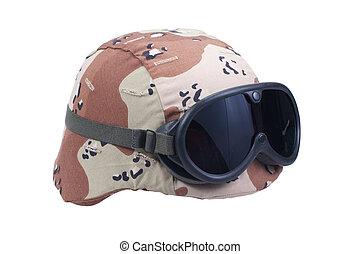nosotros ejército, kevlar, casco, con, un, desierto, camuflaje, cubierta, y, anteojos protectores