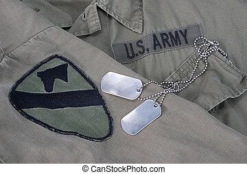 nosotros ejército, perro, etiquetas