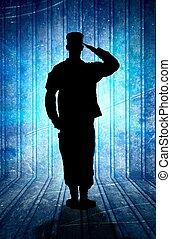 nosotros ejército, soldado, en, desfile, resto, position.