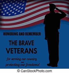 nosotros ejército, soldado, saludar, el, bandera