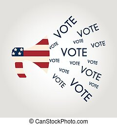 nosotros, elecciones, política, mercadotecnia, communication:, megáfono, con, voto, concept.