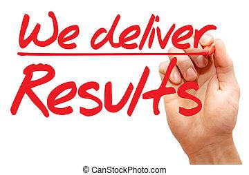 nosotros, escritura, empresa / negocio, entregar, resultados, mano, concepto