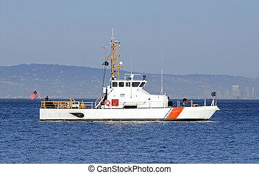 nosotros, guardia, costa, bahía, anclado
