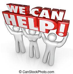nosotros, lata, ayuda, servicio de cliente, apoyo, ayudantes