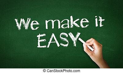 nosotros, marca, él, ilustración, tiza, fácil