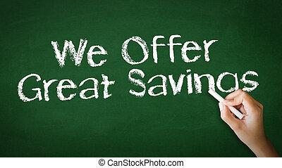 nosotros, oferta, grande, ilustración, tiza, ahorros