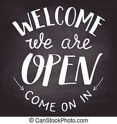nosotros, pizarra, señal, bienvenida, abierto