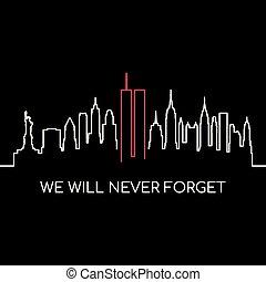 nosotros, voluntad, monumento conmemorativo, banner., nunca, olvídese