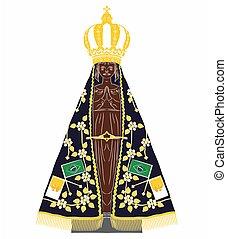 Our Lady Aparecida vector art. Saint of christian church. vector or fully editable illustration.