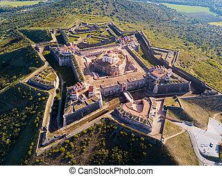 Nossa Senhora da Graca Fort, Alcacova, Portugal - Aerial ...
