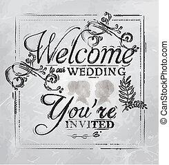 nosso, carvão, bem-vindo, desenho, casório